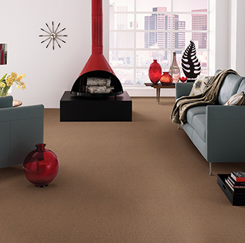 Living room scene with brown American Showcase carpet.